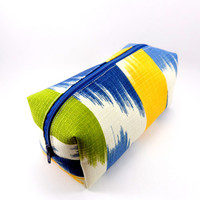 Blue, Green and Cream Striped Ikat Makeup Bag, Gadget Case, Under 15, Pencil Case, Medium, Zippered, Cosmetic Case, For Her