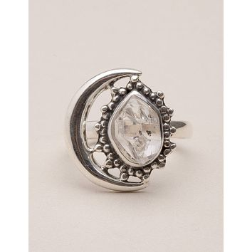 Herkimer Diamond Silver Moon Ring - Size 8