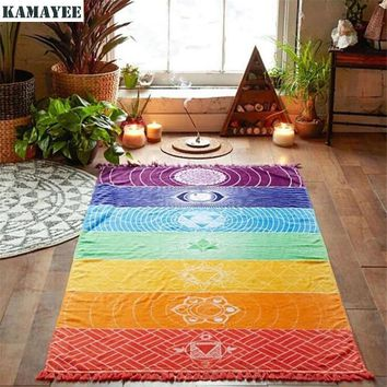 India Bohemian Mandala Tapestry Rainbow Stripes 7 Chakra Colored Beach Towel Tassel Colorful Wall Hanging Blanket Boho Yoga Mat