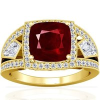 18K Yellow Gold Cushion Cut Ruby Ring With Sidestones