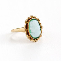 Sale - Vintage 10K Rosy Yellow Gold Green & White Hardstone Cameo Ring - Art Deco 1930s Sz 7 Carved Chalcedony Woman Silhouette Fine Jewelry