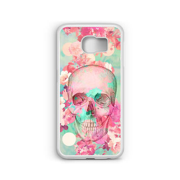 Phone Case Beautiful Flowers Skull Floral for Samsung Galaxy S4, S5, S6, S6 EDGE, S6 EDGE Plus, S7 and S7 EDGE