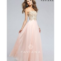 Preorder - Faviana s7760 Soft Peach Pink Strapless Long Dress 2016 Prom Dresses