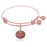 Expandable Bangle in Pink Tone Brass with U.S. Air Force Proud Sister Symbol