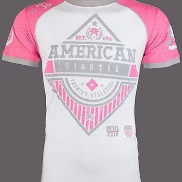 Licensed Official AMERICAN FIGHTER Mens T-Shirt CLARKSON Athletic WHITE PINK Biker Gym MMA UFC $40
