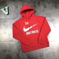 """Nike Just Do It"" Unisex Letter Logo Print Hooded Long Sleeve Cotton Sweater Couple Sweatshirt Hoodie Tops"