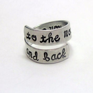 To The Moon and Back - Hand Stamped Aluminum Wrap Twist Ring - Gifts Under 20