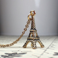 Eiffel Tower Necklace, Gold Eiffel Tower Necklace, Rustic Eiffel Tower Necklace, College Student Gift