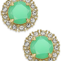 kate spade new york Gold-Tone Bud Green Stone and Clear Crystal Button Earrings