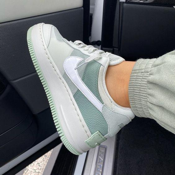 Image of Nike Air Force 1 Shadow Hot Sale Women Men Casual Sport Running Shoes Sneakers Grey & Green