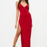 Missguided - Red Stretch Multi Strap Plunge Split Maxi Dress