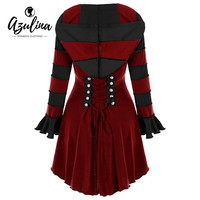 AZULINA Hoodies Women Gothic Sweatshirt Female Casual Hooded Double Breasted Corset Lace Up Asymmetric Sweatshirts Ladies Tops