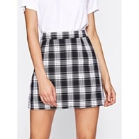 Tartan Plaid Zipper Back Skirt