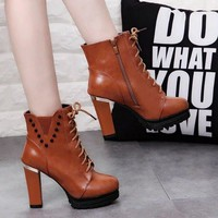 Women Fashion Zip Thick Heel Dr Martens Heels Shoes Boots Shoes