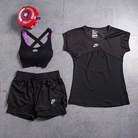 NIKE Women Fashion Sport Gym Running Shirt Top Shorts Underwear Set Three Piece