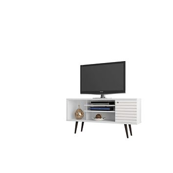 """Liberty 53.14"""" Mid Century - Modern TV Stand w/ 5 Shelves & 1 Door w/ Solid Wood Legs-White"""