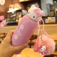 New 200ml Kawaii Cute Hello Kitty Stainless Steel Vacuum Flask Coffee Mug Travel Tumbler Water Bottle Insulated Thermos Gift Cup