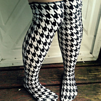 Prep school LONGSTOCKINGS over knee socks stockings black and white Houndstooth thigh high