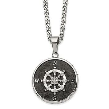 Stainless Steel Polished Black IP-Plated Compass 22in Necklace