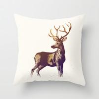 Deer Throw Pillow by Cedric S Touati