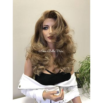 Reddish Blonde Balayage Human Hair Blend Deep Multi Parting Lace Front Wig - Barbara 11177