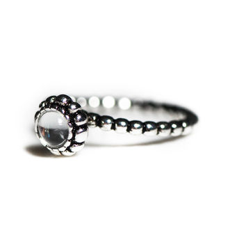 Beaded Sterling Silver Clear Stackable Ring