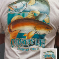 Country Life Outfitters Southern Coast Fish Fishing Vintage Unisex White Bright T Shirt