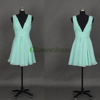 short mint chiffon bridesmaid dresses under 100 sexy v-neck folded prom dress for girls hot cheap stunning dress for wedding party