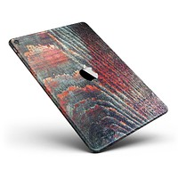 """Grungy Orange and Teal Dyed Wood Surface Full Body Skin for the iPad Pro (12.9"""" or 9.7"""" available)"""
