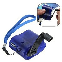 Outdoor Emergency Survival Gear Hand Crank Generator USB Mobile Phone Charger Outdoor Sports Accessories (Blue)