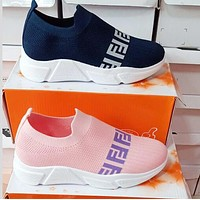 FENDI Newest Fashion Women Breathable Knit Running Sport Shoes Sneakers