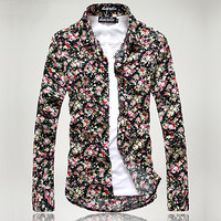 Slim Fit Floral Button Down Collared Shirt