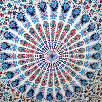 Indian Mandala Twin Tapestry Hippie Tapestries Cotton Bedspread Throw Table Cloth Decor Bed Cover Wall Art