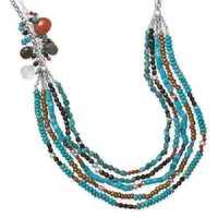 """23""""+2"""" Multistrand Turquoise and Multibead Necklace .925 Sterling Silver"""