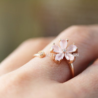 Light Pink Stone Flower Ring Adjustable Open ring Pink Gold tone Plated Jewelry