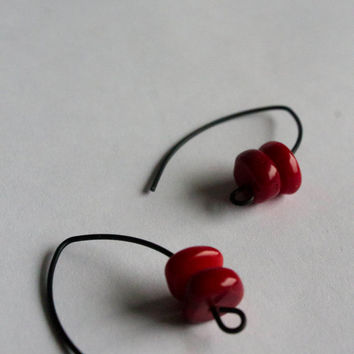 Red Hot Valentine Earrings Red Coral Black Red earrings