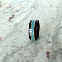 ebony macassar wood ring inlayed with maple and crushed turquoise