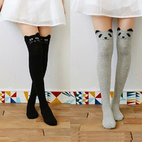Hot lot Women Sexy Autumn Winter Favorite Cute Thigh Long Cotton Socks Funky 3D Cartoon Animal Over Knee High Seamless Socks