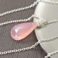 Pink chalcedony necklace on silver filled chain, 24 inch long, faceted teardrop pendant
