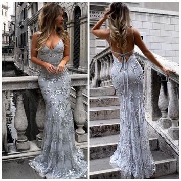 Prom Dresses Spaghetti Straps Backless Sequins Evening Dresses