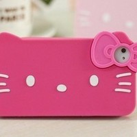 iPhone 4G/4S Hello Kitty Style Big Face Shape Series Bow Tie Style Soft Case/Cover/Protector(Rose Pink Color)