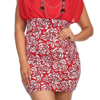 Rose Print Mini Dress - Red - Plus Size