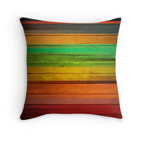 'Colorful wood' Throw Pillow by adiosmillet