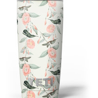 The Coral Flower and Hummingbird on Branches Yeti Rambler Skin Kit