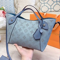 LV Louis Vuitton Women Shopping Bag Leather Handbag Tote Shoulder Bag Satchel Blue