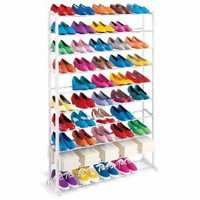 Lynk 50 Pair Shoe Rack - 10 Tier - Shoe Shelf Organizer - White