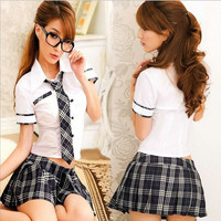 Hot COSPLAY student uniforms Sexy lingerie women costumes Sex Products toy Sexy underwear Role play(white shirt+Stripe dress)