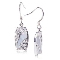Sterling Silver Surfboard Hook Earring with Scrolling and Mother-of-Pearl Inlay