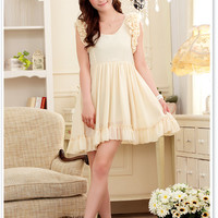 Lantern Sleeve Chiffon Dress