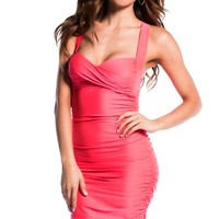 Neon Coral Sexy Seduction Ruched Sleeveless Wide Strap Club Dress